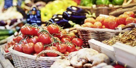Grønnsaksmarked i Argostoli, Kefalonia, Hellas.