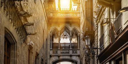 Trange gater og mektige bygninger i de gotiske kvartalene i Barcelona.