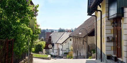 Koselige gater i Bled, Slovenia.