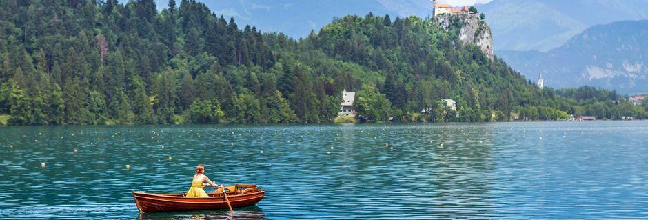 Den vakre innsjøen Bled, Slovenia.