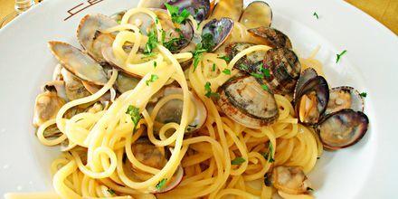 Spaghetti Vongole er en favoritt hos den som er glad i hjerteskjell