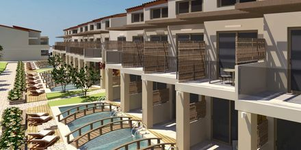 Skissebilde av leilighet med delt basseng.
