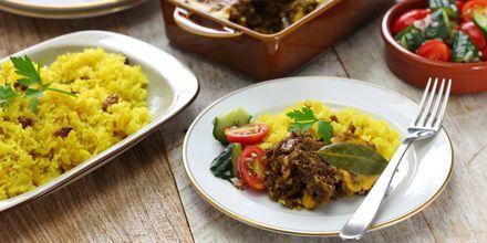 Sør-Afrikas nasjonalrett heter bobotie og er en slags kjøttdeiggryte.