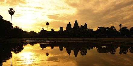 Silhuetten av Angkor Wat, Kambodsja