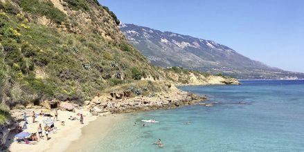 Strand i Karavados på Kefalonia, Hellas