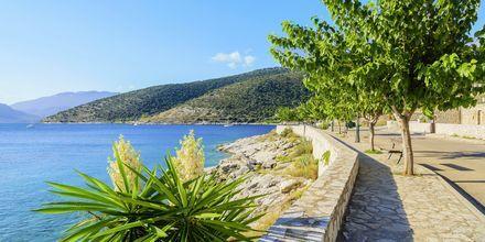 Strandpromenaden i hyggelige Agia Efmia.