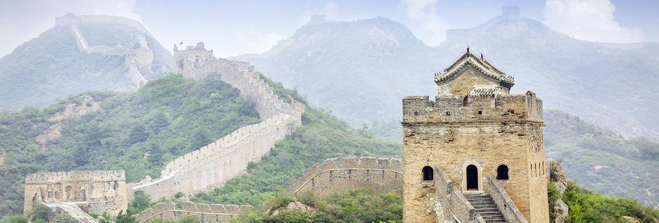 Kina er et stort og mektig reisemål, med blant annet Den kinesiske muren som en av de fremste severdighetene.