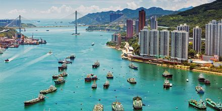 Havnen i Hong Kong er et viktig forretningssentrum.