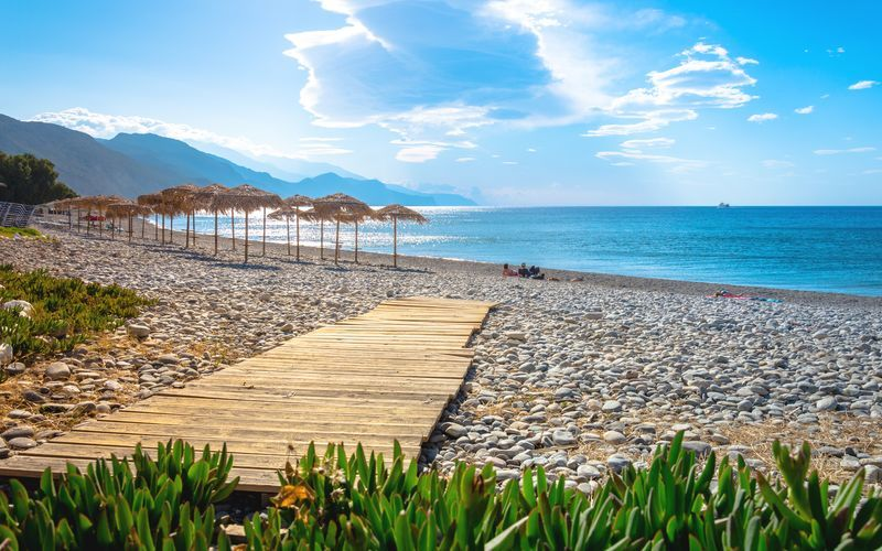 Vakker strand i Paleochora på Kreta