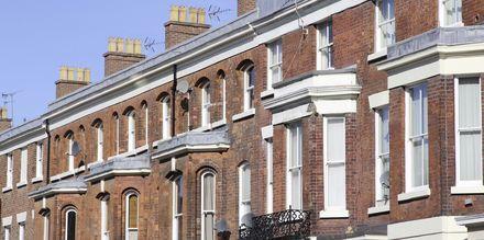Typiske engelske hus i Liverpool, England.
