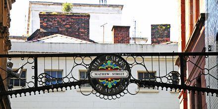 Mathew Street, et herlig fornøyelsesområde i Liverpool.