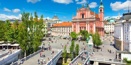 Prešeren-torget i Ljubljana, Slovenia.