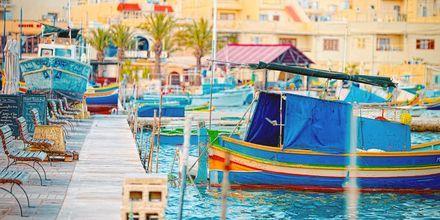 Fiskelandsbyen Marsaxlokk på Malta – vel verdt et besøk.