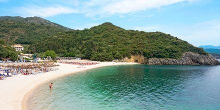 Stranden Megali Ammos Beach ved hotellet