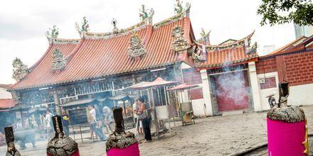 Et av mange gudshus i George town på Penang. Her ser du Goddess of Mercey Temple.