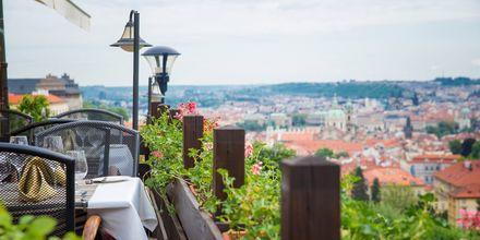 Cafe med utsikt over Praha, Tsjekkia.