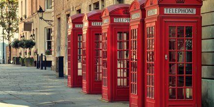 De typisk britiske telefonkioskene