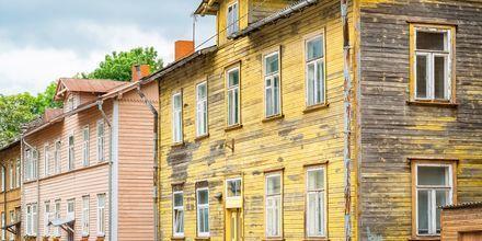 Trehus i hippe Kalamaja i Tallinn, Estland.