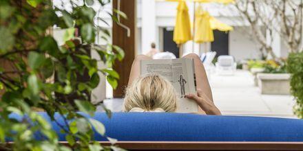 Nyt ferien på en solseng med en bok