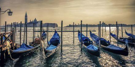 Solnedgang over lagunen i Venezia
