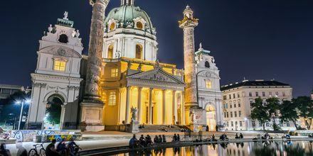 Kveldsliv i Wien, Østerrike.